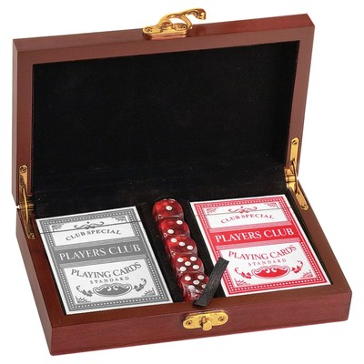 cards and dice game set engraved